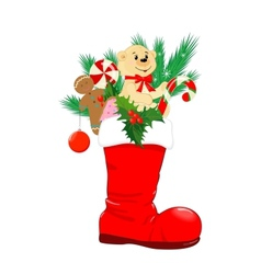 Red Christmas boot vector image vector image