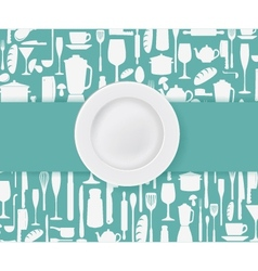 Restaurant menu design with plate vector image