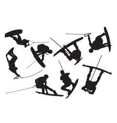 Silhouette wakeboarding vector image