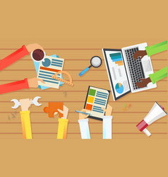 team work banner top view of a table vector image