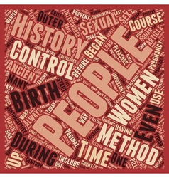 Brief history of birth control text background vector
