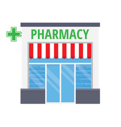 facade pharmacy store with a signboard vector image