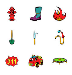 fire extinguisher icons set cartoon style vector image