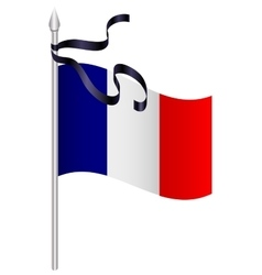 French flag with black mourning ribbon vector image