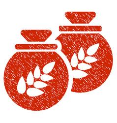 grain harvest sacks icon grunge watermark vector image