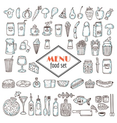 Hand drawn set of food icons Set of various vector image vector image