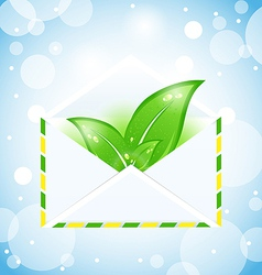 Letter with green leaves vector image vector image