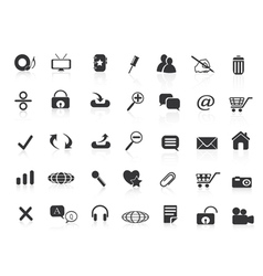 many black web icons vector image vector image
