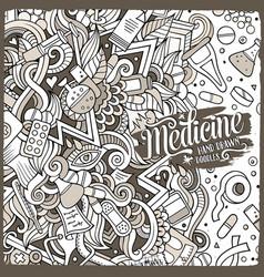 cartoon cute doodles medical frame vector image vector image