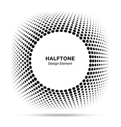 convex distorted abstract halftone circle frame vector image