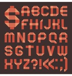 Font from reddish scotch tape - Roman alphabet vector image