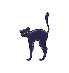 Halloween black cat icon cartoon style vector image