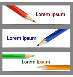 Set of banners with color pencils vector image vector image