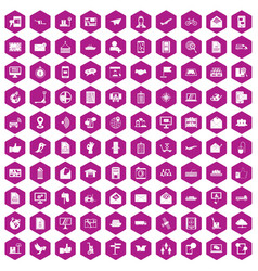 100 post and mail icons hexagon violet vector