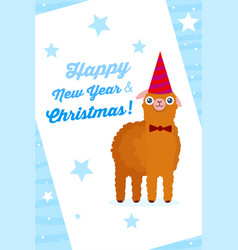 alpaca on new year and christmas poster for vector image