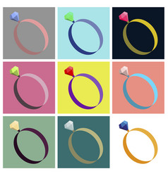 assembly flat icons engagement ring vector image