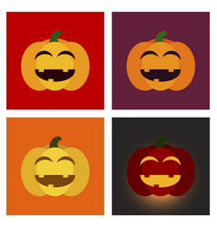 Assembly flat icons halloween emotion pumpkin vector