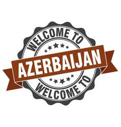 azerbaijan round ribbon seal vector image