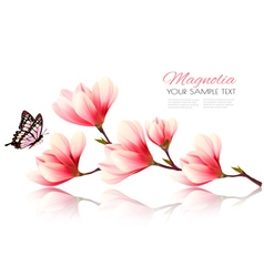 Beautiful pink magnolia background with butterfly vector