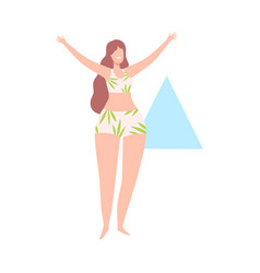 Beautiful woman in swimsuit female triangle body vector
