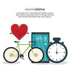 Bike and heart pulse icon Healthy lifestyle vector