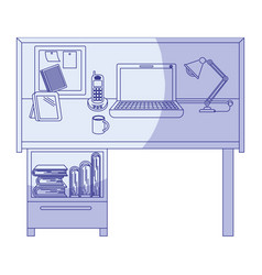 Blue shading silhouette of workplace home office vector