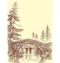 Bridge drawing bridge over river graphic vector