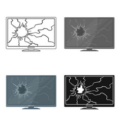 broken television icon in cartoon style isolated vector image