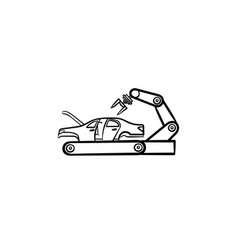 car factory with robotic arm hand drawn outline vector image