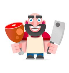 cartoon butcher cut the meat vector image