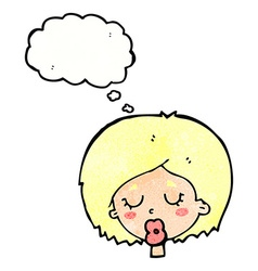 cartoon woman with eyes closed with thought bubble vector image