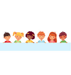 children peeking out from wall diverse cheerful vector image