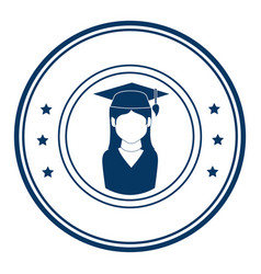 circular emblem with woman with graduation outfit vector image