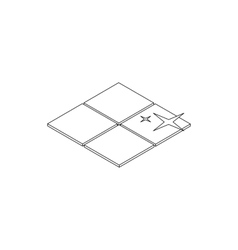 Clean tile icon isometric 3d style vector
