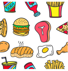 Collection of food element doodles vector