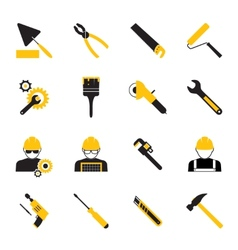 Construction Workers and Tools Icons vector image