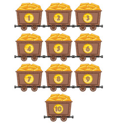 Counting numbers with gold in mining carts vector