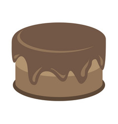 cream choco brown cake tasty with topping vector image
