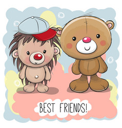 Cute cartoon bear and hedgehog vector