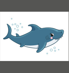 Cute shark is smiling on a white background vector