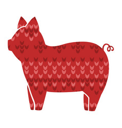 Cute stylized knitting picture of pig vector
