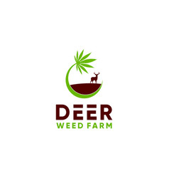 Deer weed farm logo design vector
