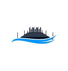 Dock waves business creative logo design vector