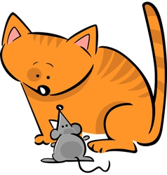 doodle cat and mouse vector image