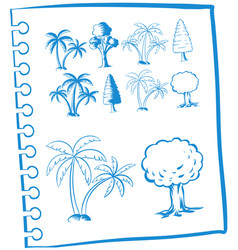 Doodles trees in blue color vector