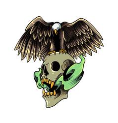 eagle mascot logo with skull vector image