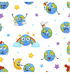 earth planet expressing emotions emojis seamless vector image