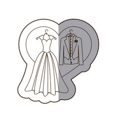 Elegant jacket and dress married with heart vector