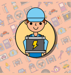 Employee holding battery car service maintenance vector