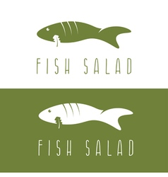 fish salad negative space design template vector image